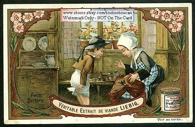 Charming Brittany Children Sewing Clothing c1906 Card