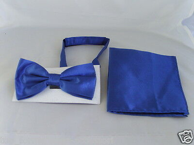 Royal BLUE Polyester Bow Tie and Hankie Set<>The More Sets U Buy>The More U Save