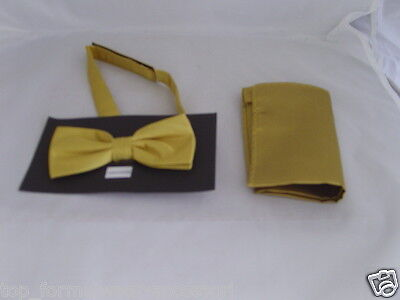 Shiny Polyester GOLD Bow Tie and Hankie Set<>The More Sets U Buy>The More U Save