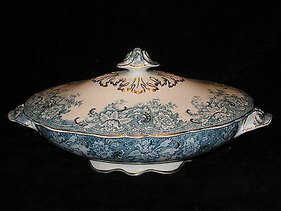 NEW WHARF POTTERY - Hampden - blue/green VICTORIAN - Covered Serving Bowl - 51c