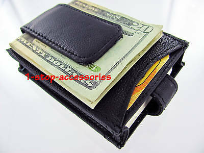 Black Genuine Leather Magnetic Money Clip ID Business Credit Card Holder Case