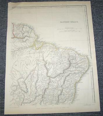 1848 HAND COLOURED MAP Of EASTERN BRAZIL