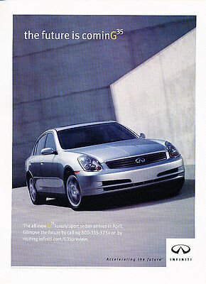 2002 Infiniti G35 Sedan - future -  Classic Advertisement Ad A56-B