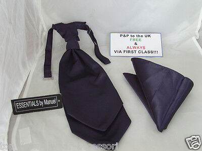 NAVY Blue MENS Ruche Tie-Cravat and Hankie Set>*The More U Buy>The More*  U Save