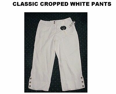 Charter Club Women's white and brown stretch cropped capri pants size 6 $59 tag