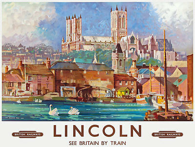 TU65 Vintage Lincoln British Railways Travel Poster Print A2/A3