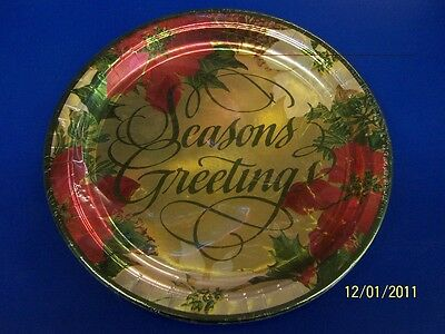 """Holiday Wishes Poinsettia Flower Christmas Party 10.5/"""" Paper Banquet Plates"""