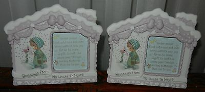 2 Precious Moments 1996 House Photo Frame Holiday Snow