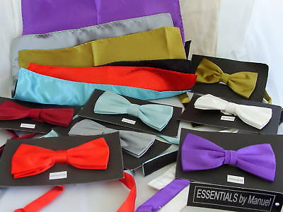 Any Shiny Polyester Ready Pre-tied Bow Tie and Hankie Set - P&P 2UK >>>1st Class