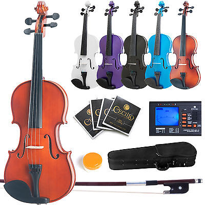 "MENDINI VIOLA +TUNER 16"" 15"" 14"" 13"" 12"" ~Natural Wood Black Blue Purple White"