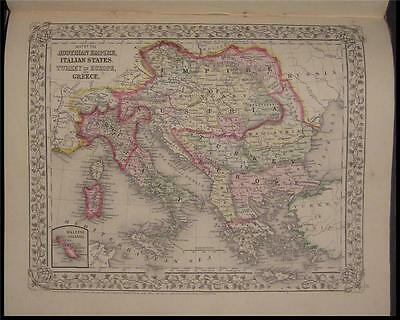 1867 Antique Mitchell Map Austria Italy Turkey Greece