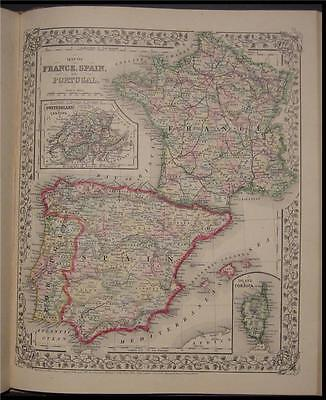 1867 Antique Mitchell Map Spain Portugal France Corsica