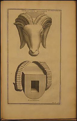 1724 Antique Montfaucon Print Egyptian God head of Goat