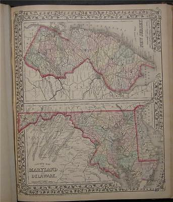 1874 Antique Mitchell Map New Jersey Maryland Delaware
