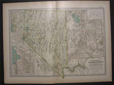 1898 Original Colored Map of Nevada & Utah Grand Canyon