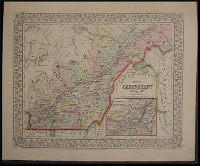1867 Antique Mitchell County Map East Canada Montreal