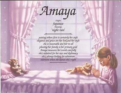 "Personalized Name Meaning ""Praying Girl"" Gift for Child, Daughter, Granddaughter"