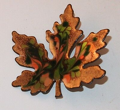 Vintage Goldtone Leaf Green Pink Colors Large  Brooch Pin