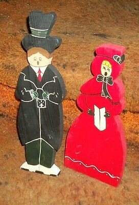 CAROLERS / 2 / Wooden hand crafted// Nice UNIQUE