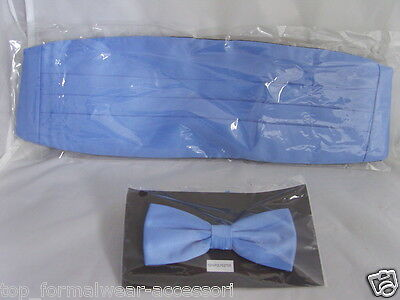Light BLUE Polyester Bow Tie and Cummerbund Set> in 60 Colours>P&P 2UK>1st Class