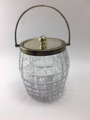 Vintage CRYSTAL GLASS ICE BUCKET Silverplate Lid Handle Beveled Square Pattern