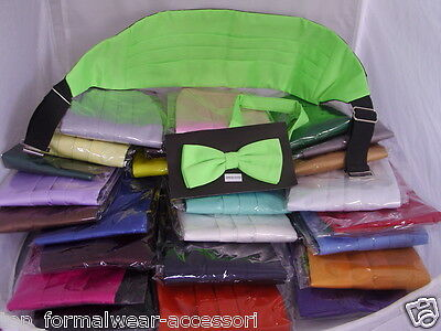 Any Mens Pre-tied Polyester Bow tie & Cummerbund Set>60 Colours>P&P2UK>1st Class