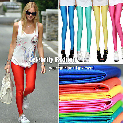 ac13 Celeb Style 80s Shiny Neon Metallic Coloured Gym Workout Fitness Leggings