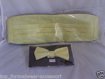 BABY Yellow Polyester Cummerbund & Bow Tie Set>P&P 2UK>1st Class-Over 60 Colours