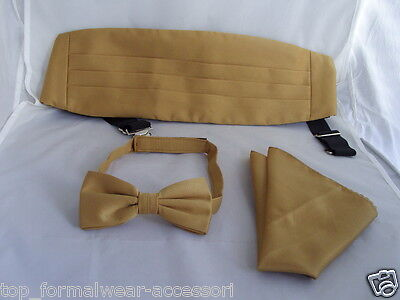 GOLD Polyester Mens Bow tie + Cummerbund & Hanky Set>P&P2UK>1st Class-60 Colours
