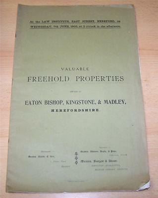 1905 PROPERTY AUCTION CATALOGUE For HEREFORSHIRE + Maps