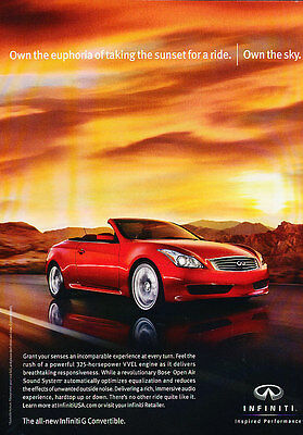 2010 Infiniti G37 convertible - red -  Classic Advertisement Ad A59-B