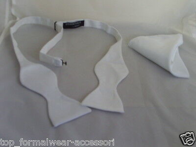 Polyester WHITE Self-tie Bow tie and Hankie Set + Instructions>P&P 2UK>1st Class