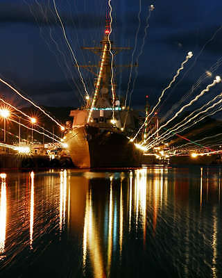 Holiday Lights On Uss Russell 8X10 Photo Pearl Harbor