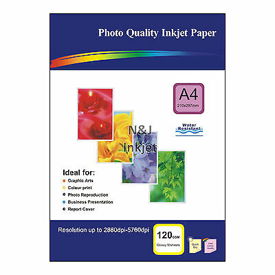50 Sheets of A4 120gsm High Quality Glossy Photo Paper for Inkjet Printers