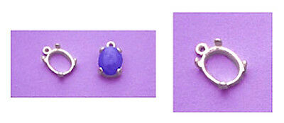 Sterling Silver Oval Cabochon Dangle Casting (6x4mm -22x10mm)