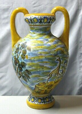 """Quimper French Faience 13"""" Vase with Giraffe"""
