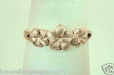 7mm-5mm Graduated Hawaiian 14k Rose Gold Sparkly DC Plumeria Flowers Ring