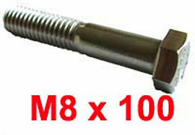 M8 x 100 Stainless Steel Shanked BOLTS - 8mm x 100mm Stainless Hex Bolts x5