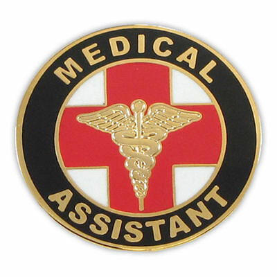 MA GOLD CADUCEUS MEDICAL ASSISTANT ROUND RED CROSS PIN