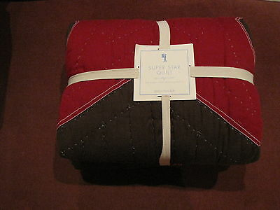 Pottery Barn Kids Super Star Quilt Full Queen Brown Red SOLD OUT Brand New!!