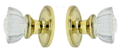 Fluted Crystal Glass & Natural Brass Residential  PASSAGE Door Knob Set-Special