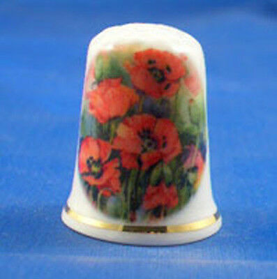 FINE CHINA THIMBLE - FLAMING RED POPPIES