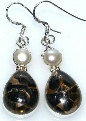 Black COPPER Turquoise + white PearlUnique 925 Sterling SILVER Earring Earrings