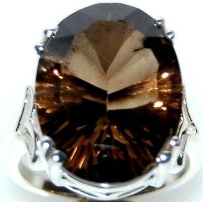 Smoky Quartz Gemstone, BIG 925 Sterling SILVER Rings Cocktail Ring; N, O, P, Q