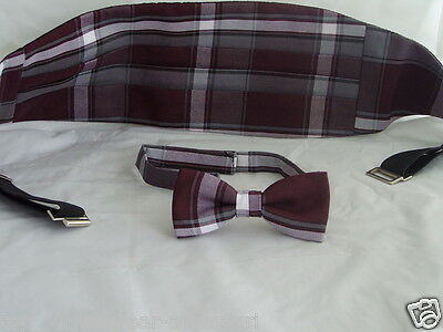 TARTAN> Burgundy MENS Polyester Bow tie and Cummerbund Set <> P&P 2UK> 1st Class