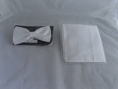 Instructions/>P/&P 2UK/>1st Class Polyester WHITE Self-tie Bow tie and Hankie Set