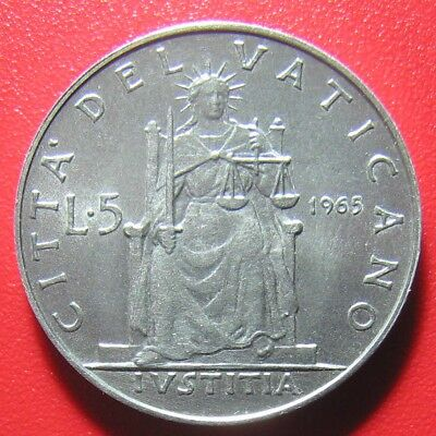 VATICAN CITY 1965 5 LIRE POPE PAUL VI 20mm ALUMINUM LOW MINT DATE!