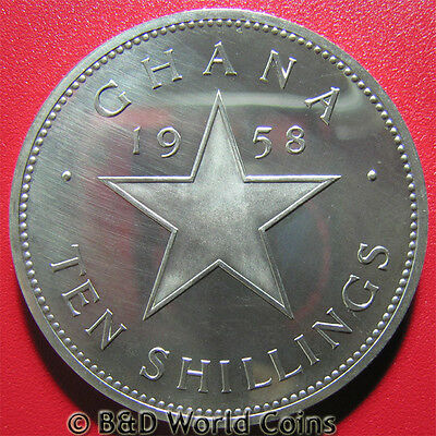GHANA 1958 10 SHILLINGS .83oz SILVER INDEPENDENCE 38.5mm COLLECTIBLE WORLD CROWN