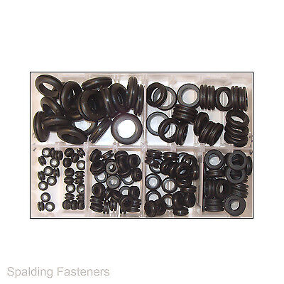 150 6mm To 25mm Assorted Metric Rubber Black Cable Wiring Grommets
