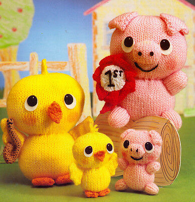 Toy Posy The Pig & Sunny The Chick - Knitting Pattern DK - Very Cute !
